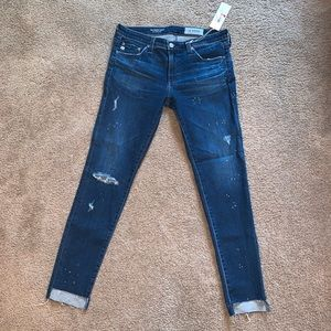 NWT Cute AGed Denim jeans with paint splatter